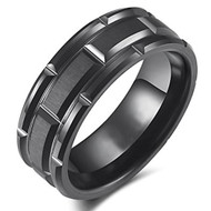 8mm - Unisex or Men's Wedding Band. Black Tone Brick Pattern Tungsten Wedding Band Ring Comfort Fit
