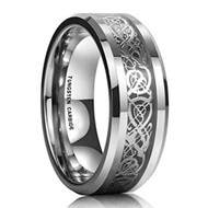 8mm - Unisex or Men's Wedding Band. Silver Resin Inlay Black and Silver Celtic Knot Tungsten Carbide Ring Wedding Band