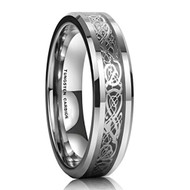 6mm - Unisex or Women's Wedding Band. Silver Resin Inlay Black and Silver Celtic Knot Tungsten Carbide Ring Wedding Band