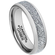 6mm - Unisex or Women's Tungsten Wedding Band. Silver Inspired Meteorite Domed Tungsten Carbide Ring. Comfort Fit