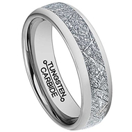 6mm - Unisex or Women's Wedding Band. Silver Tone Domed Tungsten Carbide Ring Inspired Meteorite Wedding Band Comfort Fit