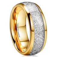 8mm - Unisex, Women's or Men's Tungsten Wedding Band. 14K Gold Plated Ring with Inspired Meteorite. Domed Top Tungsten Carbide Comfort Fit.