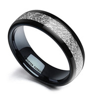 8mm - Unisex or Men's Wedding Band. Mens Wedding Rings Black Tungsten Carbide Ring Inspired Meteorite Wedding Band Comfort Fit