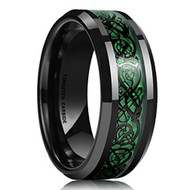 8mm - Unisex or Men's Wedding Band. Silver Carbon Fiber Hunter Green Celtic Knot Tungsten Carbide Ring Wedding Band