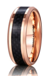 8mm - Unisex or Men's Tungsten Wedding Band Ring (Gold Tone with Black Carbon Fiber Inlay). Men's Wedding Bands