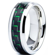 8mm - Unisex or Men's Tungsten Wedding Band Ring (Silver Tone and Green Carbon Fiber Inlay). Men's Wedding Bands