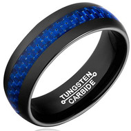 8mm - Unisex or Men's Tungsten Wedding Band Ring (Black Tone and Blue Carbon Fiber Inlay). Men's Wedding Bands