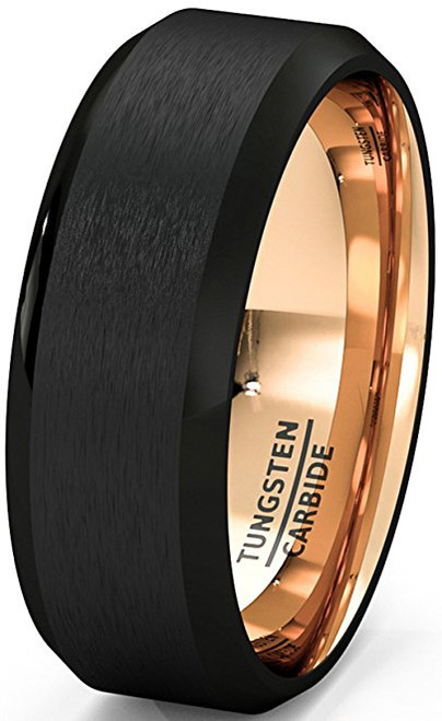 Triton U127BC Black Tunsten 8mm Male Wedding Band at MWB