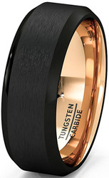 8mm - Unisex or Men's Wedding Band. Black Matte Finish Tungsten Carbide Ring with Inside Rose Gold Beveled Edge. Men's Wedding Band