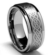 8mm - Unisex or Men's Wedding Band. Silver Tungsten Ring with Laser Etched Celtic Knot Tungsten Carbide Ring Wedding Band