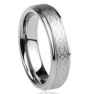 6mm - Unisex or Women's Wedding Band. Silver Tungsten Ring with Silver Laser Etched Celtic Knot Tungsten Carbide Ring Wedding Band