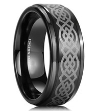 8mm - Unisex or Men's Tungsten Ring Wedding Band. Mens Wedding Rings Black with Laser Etched Celtic Knot and Beveled Edges. Men's Wedding bands.