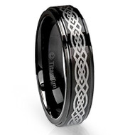 6mm - Unisex or Women's Tungsten Ring Wedding Band. Black with Laser Etched Celtic Knot and Beveled Edges. Women's Wedding bands.