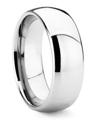 8mm - Unisex or Men's Wedding Band. Tungsten Wedding Band Ring. Comfort Fit Silver Tone Domed Polished