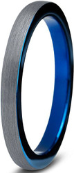 2mm - Unisex or Women's Tungsten Wedding Band Ring. Comfort Fit Blue Round Domed Brushed. Unisex Wedding Bands