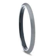 2mm - Unisex or Women's Tungsten Rings. Wedding Band Gray and Black Plated Comfort Fit Brushed. Women's Wedding Bands.