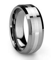 8mm - Unisex or Men's Tungsten Men's Wedding Band Ring. Silver Tone Comfort Fit - Matte Finish Stripe