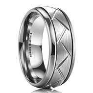 8mm - Unisex or Men's Wedding Band. Silver Finish Tungsten Carbide Ring with Hatch Grooved Beveled Edge. Silver Tone Men's Wedding Band