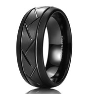 8mm - Unisex or Men's Wedding Band. Black Finish Tungsten Carbide Ring with Hatch Grooved Beveled Edge Men's Wedding Band