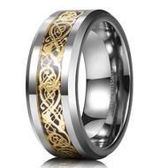 8mm - Unisex or Men's Wedding Band. Silver Resin Inlay Yellow Gold Celtic Knot Tungsten Carbide Ring Wedding Band