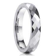 4mm - Unisex or Women's Tungsten Rings. Wedding Band. Diamond Faceted High Polished Domed Tungsten Carbide Ring. Silver Tone Women's Wedding Bands.
