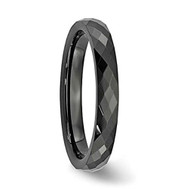 4mm - Unisex or Women's Tungsten Rings. Wedding Band - Black Diamond Faceted High Polished Domed Tungsten Carbide Ring Wedding Band. Women's Wedding Bands.