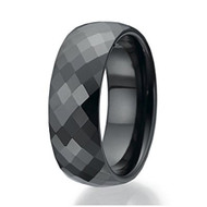 8mm - Unisex or Men's Tungsten Rings. Wedding Band - Mens Wedding Rings Black Diamond Faceted High Polished Domed Tungsten Carbide Ring.