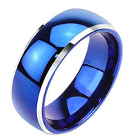 8mm - Unisex or Men's Wedding Bands. Blue Tungsten Ring. Two Tone Silver Side Stripes High Polish Comfort Fit Wedding Band