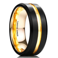8mm - Unisex or Men's Wedding Band. Mens Wedding Rings Black Matte Finish Tungsten Carbide Ring with 18K Yellow Gold Beveled Edge Men's Wedding Band