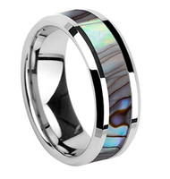 8mm - Unisex or Men's Wedding Bands. Tungsten Carbide Silver Tone Multi Color Rainbow Abalone Shell Inlay Ring Band (Organic colors)