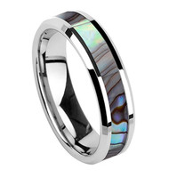 6mm - Unisex or Women's Wedding Bands. Tungsten Carbide Silver Tone Multi Color Rainbow Abalone Shell Inlay Ring Band (Organic colors)