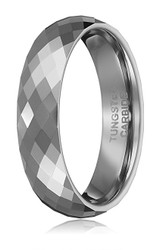 6mm - Unisex, Men's or Women's Tungsten Wedding Band. Silver Tone Diamond Faceted High Polished Domed Tungsten Carbide Ring