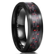 8mm - Unisex or Men's Wedding Bands. Mens Wedding Rings Black. Mens Tungsten Ring Wedding Band. Black and Red Carbon Fiber Inlay