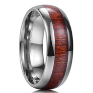 8mm - Unisex or Men's Wedding Bands. Tungsten Ring Wedding Band, Engagement Ring with Koa Wood Inlay. Comfort Fit