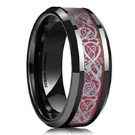 8mm - Unisex or Men's Wedding Band. Black Carbon Fiber Red Celtic Knot Tungsten Carbide Ring Wedding Band
