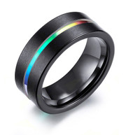 10mm - Unisex, Men's or Women's Rainbow Anodized Black Tungsten Carbide Steel Ring. Wedding Engagement Rings