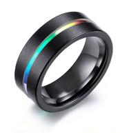 8mm - Unisex or Men's Tungsten Wedding Band. Rainbow Anodized Black Tungsten Carbide Wedding Engagement Rings