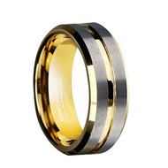 8mm - Unisex or Men's Wedding Band. Silver Matte Finish Tungsten Carbide Ring with Yellow Gold Beveled Edge Men's Wedding Band