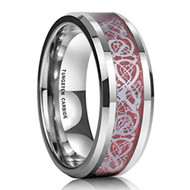 8mm - Unisex or Men's Wedding Band. Silver Resin Inlay Red Celtic Knot Tungsten Carbide Ring Wedding Band