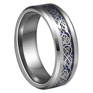 8mm - Unisex or Men's Tungsten Wedding Band. Celtic Wedding Band - Silver Resin Inlay Blue Celtic Knot Tungsten Carbide Ring