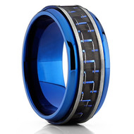 8mm - Unisex or Men's Titanium Wedding Bands. Blue Tone Ring with Blue and Black Carbon Fiber Inlay.