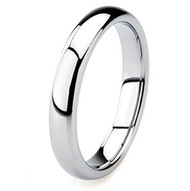4mm - Unisex or Women's Wedding Band. Tungsten Wedding Band Ring. Comfort Fit Silver Tone Domed Polished