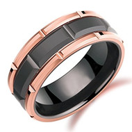 8mm - Unisex or Men's Wedding Band. Duo Tone Black and Rose Gold Tone Brick Pattern Tungsten Wedding Band Ring Comfort Fit