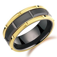 8mm - Unisex or Men's Wedding Band. Duo Tone Black and Yellow Gold Tone Brick Pattern Tungsten Wedding Band Ring Comfort Fit