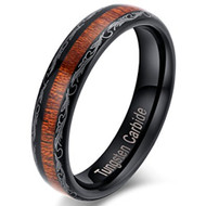 5mm - Unisex or Women's Wedding Bands. Tungsten Ring Koa Wood and Tribal Design - Womens Wedding Rings Black Plated with Dark Wood Inlay | Domed Top