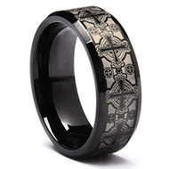 8mm - Unisex or Men's Tungsten Wedding Band. Black with Laser Etched Celtic Crosses and Beveled Edge