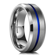 8mm - Unisex or Men's Wedding Band. Silver Tone Matte Finish Tungsten Carbide Ring with Blue - Beveled Edge Men's Wedding Band