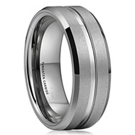 8mm - Unisex or Men's Tungsten Wedding Band. Silver Tone Matte Finish Tungsten Carbide Ring. Beveled Edge