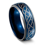8mm - Unisex or Men's Wedding Band. Mens Wedding Rings Blue with Laser Etched Celtic Knot Tungsten Carbide Ring