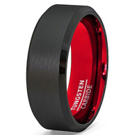 8mm - Unisex or Men's Wedding Tungsten Band. Ring with Black Matte Finish Tungsten Carbide Ring with Inside Red Beveled Edge.